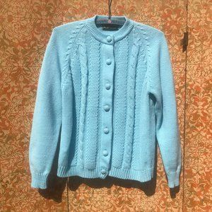 Vintage 60s Cardigan Sweater Baby Blue Button-down